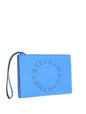 STELLA McCARTNEY: pochette online - Clutch Stella Logo azzurro fluo