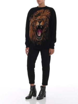 STELLA McCARTNEY: maglia collo rotondo online - Pullover in lana con intarsio leone