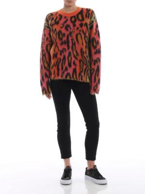 STELLA McCARTNEY: maglia collo rotondo online - Girocollo lana e mohair stampa Neon Leopard