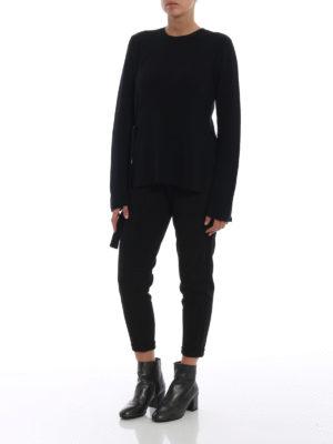 STELLA McCARTNEY: maglia collo rotondo online - Maglia in lana a costine con anelli a D