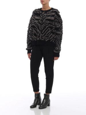 STELLA McCARTNEY: maglia collo rotondo online - Pull in lana con frangette effetto zebrato
