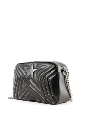 STELLA McCARTNEY: borse a tracolla online - Piccola borsa Stella Star nera matelassé