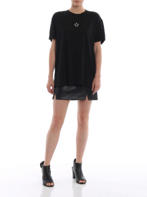 STELLA McCARTNEY: t-shirt online - T-shirt in cotone nero con perline Ministar