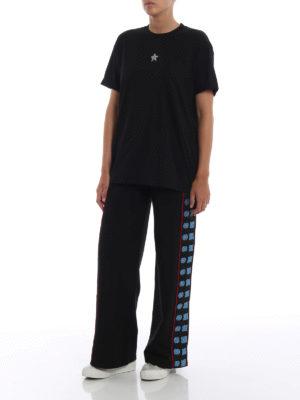 STELLA McCARTNEY: t-shirt online - T-shirt nera con stella di cristalli