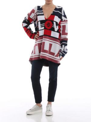 STELLA McCARTNEY: maglia collo a v online - Pull a V in lana con intarsio All Is Love