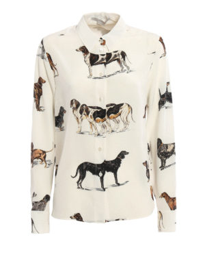 Stella Mccartney: shirts - Dog print silk shirt