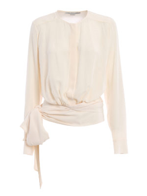 Stella Mccartney: shirts - Freya silk shirt with ribbons