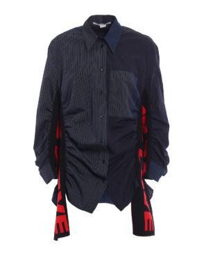 Stella Mccartney: shirts - Striped shirt with knitted inserts
