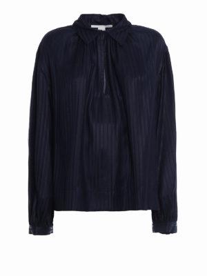 Stella Mccartney: shirts - Yael dark blue striped silk shirt