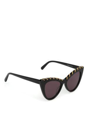 STELLA McCARTNEY: occhiali da sole - Occhiali a occhi di gatto neri con catenella