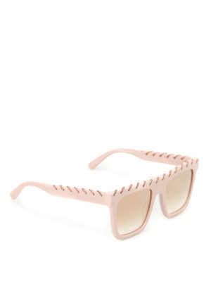 Stella Mccartney: sunglasses - Falabella chain pink sunglasses