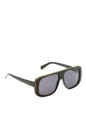 Stella Mccartney: sunglasses - Golden chain trimmed sunglasses