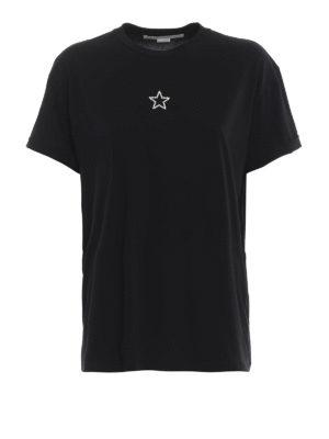 STELLA McCARTNEY: t-shirt - T-shirt in cotone nero con perline Ministar