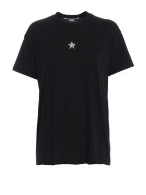STELLA McCARTNEY: t-shirt - T-shirt nera con stella di cristalli