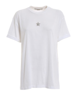 STELLA McCARTNEY: t-shirt - T-shirt bianca con stella di cristalli