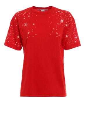 Stella Mccartney: t-shirts - Devoré star patterned jersey Tee
