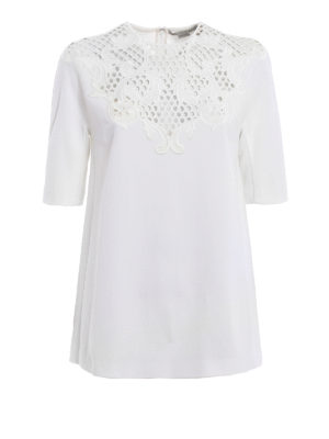 Stella Mccartney: t-shirts - Embroidered cady T-shirt