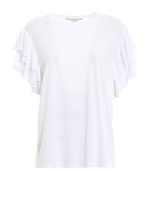 Stella Mccartney: t-shirts - Frilled sleeve T-shirt