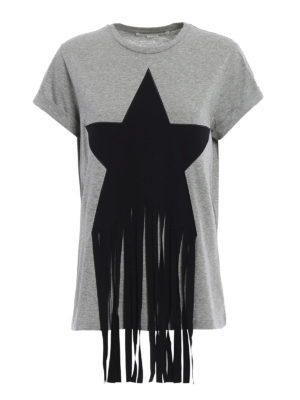 Stella Mccartney: t-shirts - Fringed star patch T-shirt
