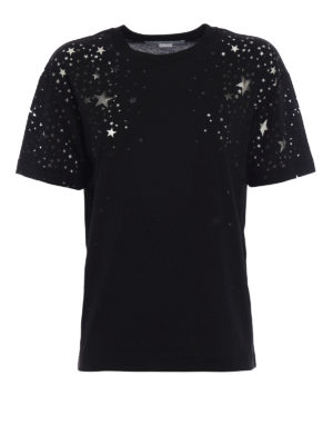 Stella Mccartney: t-shirts - Jersey black Tee with devoré stars