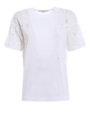 Stella Mccartney: t-shirts - Jersey T-shirt with devoré stars