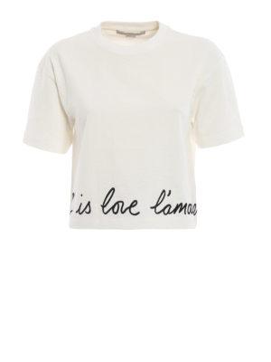 STELLA McCARTNEY: t-shirt - T-shirt crop a scatoletta con ricamo d'amore