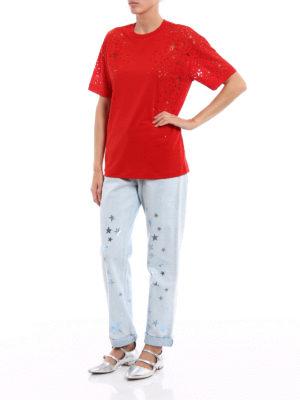 Stella Mccartney: t-shirts online - Devoré star patterned jersey Tee