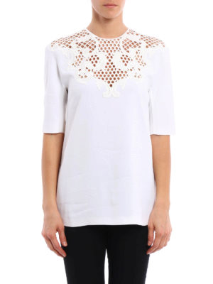 Stella Mccartney: t-shirts online - Embroidered cady T-shirt