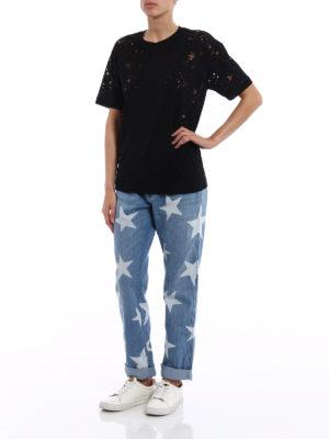 Stella Mccartney: t-shirts online - Jersey black Tee with devoré stars