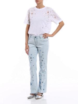 Stella Mccartney: t-shirts online - Jersey T-shirt with devoré stars