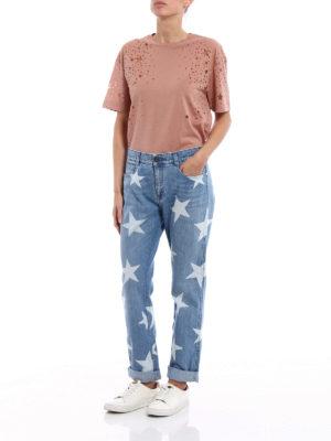 Stella Mccartney: t-shirts online - Jersey Tee with devoré stars
