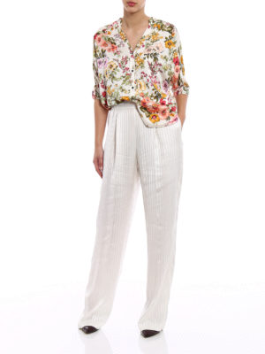 Stella Mccartney: Tailored & Formal trousers online - Shirting striped silk pyjama pants