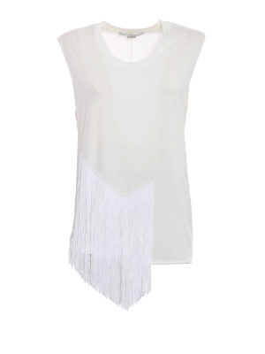 Stella Mccartney: Tops & Tank tops - Cotton tank top with long fringes