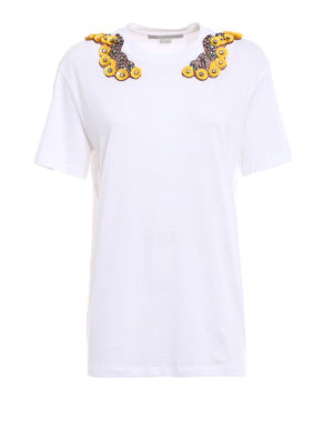 Stella Mccartney: Tops & Tank tops - Yellow floral embellishment T-shirt