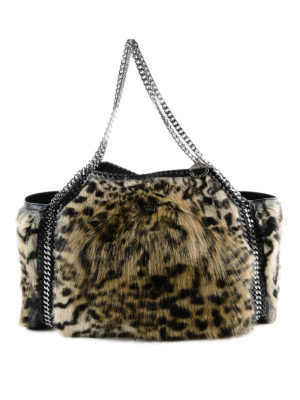 STELLA McCARTNEY: shopper - Borsa tote Falabella in pelliccia finta