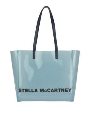 STELLA McCARTNEY: totes bags - Logo lettering blue tote bag