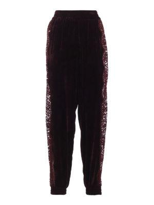 STELLA McCARTNEY: pantaloni sport - Pantaloni della tuta in velluto con pizzo