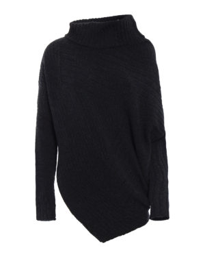 Stella Mccartney: Turtlenecks & Polo necks - Ribbed wool asymmetric turtleneck