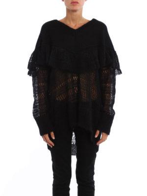 Stella Mccartney: v necks online - Flounced mohair blend over sweater