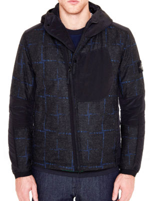 Stone Island: casual jackets online - House Check wool and nylon jacket
