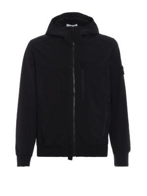 STONE ISLAND: giacche casual - Giacca nera Soft Shell-R con cappuccio