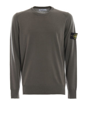 STONE ISLAND: maglia collo rotondo - Girocollo in lana pettinata verde militare
