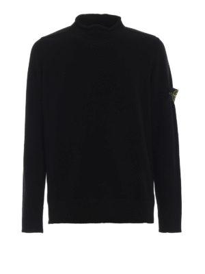STONE ISLAND: maglia collo rotondo - Girocollo in misto lana nero