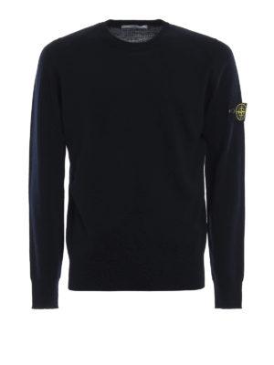 STONE ISLAND: maglia collo rotondo - Girocollo in lana pettinata blu scuro