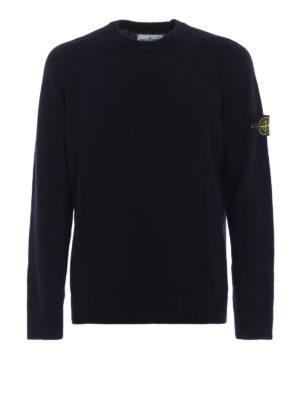 STONE ISLAND: maglia collo rotondo - Girocollo in misto lana blu