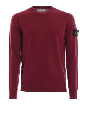 STONE ISLAND: maglia collo rotondo - Girocollo in lana color vinaccia
