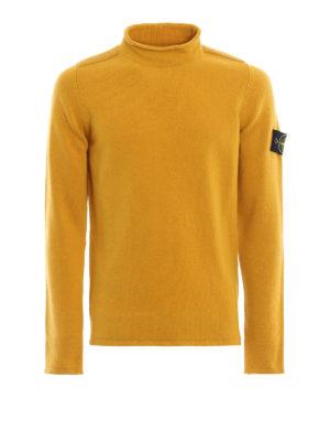 STONE ISLAND: maglia collo rotondo - Lupetto in misto lana color senape