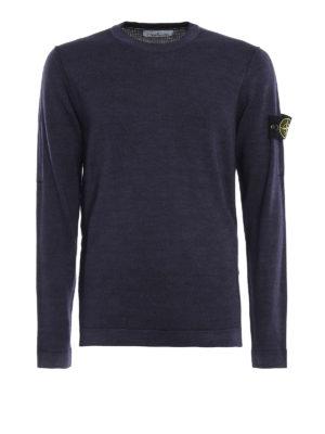 STONE ISLAND: maglia collo rotondo - Pull leggero sovra tinto in lana blu