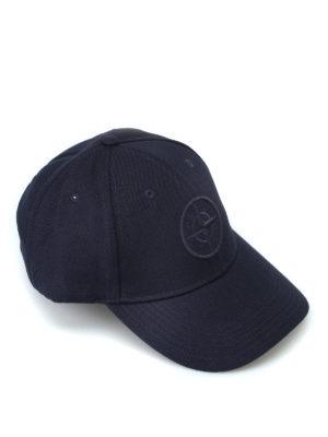 STONE ISLAND: cappelli - Cappellino da baseball in misto lana blu