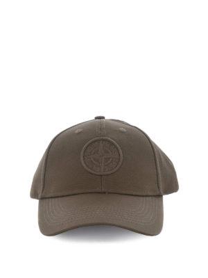 Stone Island: hats & caps online - Army-green hue baseball cap